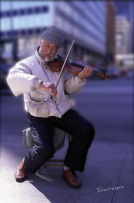 Violin Guy Poster by Terri Harper