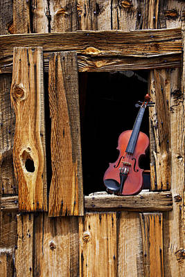 Violin In Window Poster by Garry Gay