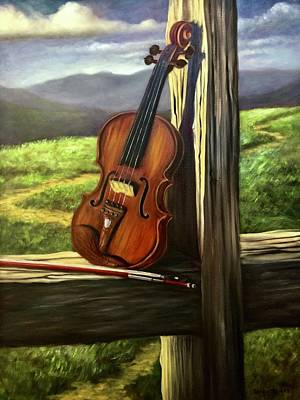 Poster featuring the painting Violin by Randol Burns