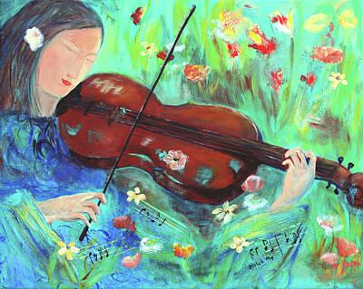 Violinist In Garden Poster