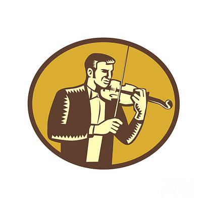 Violinist Musician Playing Violin Woodcut Poster by Aloysius Patrimonio
