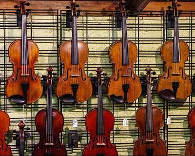 Violins In A Shop Poster