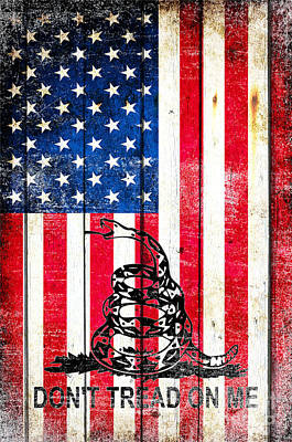 Viper On American Flag On Old Wood Planks Vertical Poster