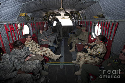 Vips In A Ch-47 Chinook Helicopter Poster by Terry Moore