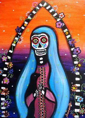 Virgen Guadalupe Muertos Poster by Pristine Cartera Turkus
