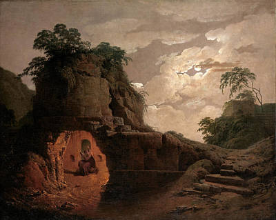 Poster featuring the painting Virgil's Tomb By Moonlight With Silius Italicus Declaiming by Joseph Wright of Derby