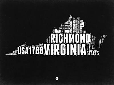 Virginia Word Cloud Black And White Map Poster