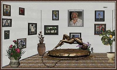 Poster featuring the mixed media Virtual Exhibition -statue Of Girl by Pemaro