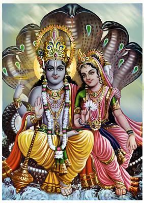 Vishnu God  Poster by Deepika Grover