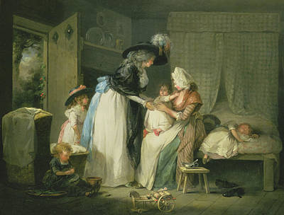 Visit To The Child At Nurse Poster