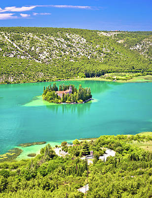 Visovac Lake Island Monastery Aerial View Poster by Brch Photography