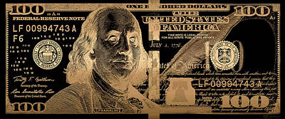 One Hundred Us Dollar Bill - $100 Usd In Gold On Black Poster by Serge Averbukh