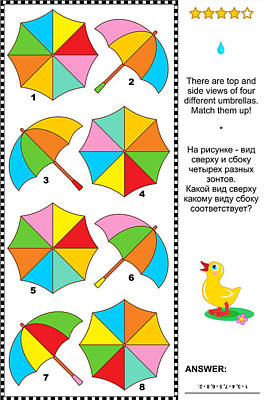 Visual Puzzle With Top And Side Views Of Umbrellas Poster by Natalia Ratselmeister