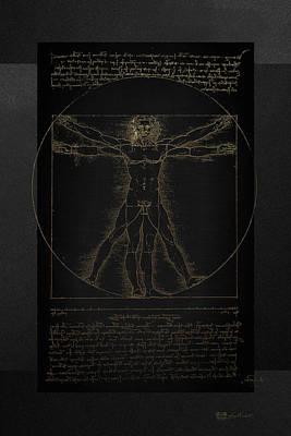 Vitruvian Man By Leonardo Da Vinci In Gold On Black Poster