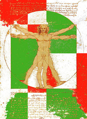 Vitruvian Man In Color Poster by Vadim Goodwill