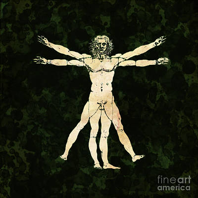Vitruvian Man Pop Art By Mary Bassett Poster