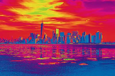 Vivid Skyline Of New York City, United States Poster
