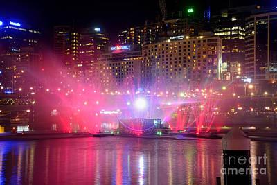 Vivid Sydney By Kaye Menner - Vivid Aquatique Pink And Blue Poster