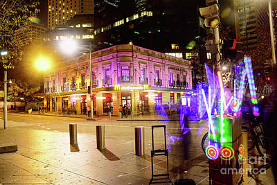 Poster featuring the photograph Vivid Sydney Circular Quay By Kaye Menner by Kaye Menner