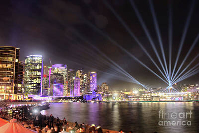 Poster featuring the photograph Vivid Sydney Skyline By Kaye Menner by Kaye Menner