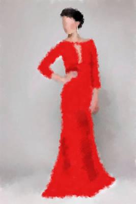 Poster featuring the digital art Vivienne by Nancy Levan