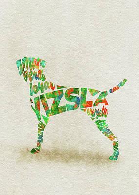 Vizsla Watercolor Painting / Typographic Art Poster