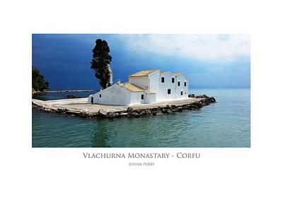 Poster featuring the digital art Vlachurna Monastary - Corfu by Julian Perry