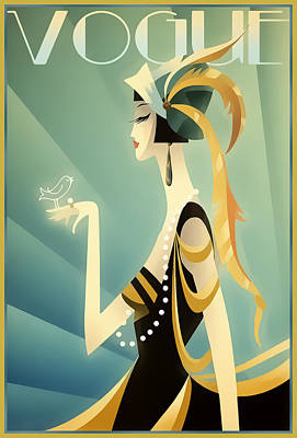 Poster featuring the digital art Vogue - Bird On Hand by Chuck Staley