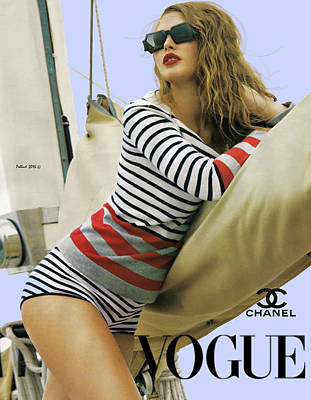 Vogue, Coco Chanel, Vintage Nautical Look, Yatching Poster