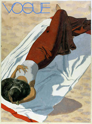 Vogue Cover Featuring A Woman Lying On A Beach Poster by Pierre Mourgue