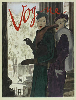 Vogue Cover Featuring Models Beside Columns Poster