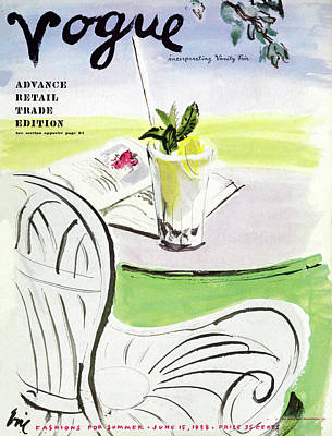 Vogue Cover Illustration Of A Beverage And Book Poster