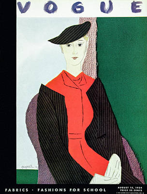 Vogue Cover Illustration Of A Blond Woman In Red Poster