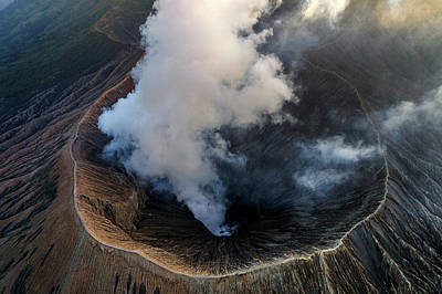 Poster featuring the photograph Volcanic Crater From Above by Pradeep Raja Prints