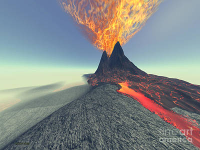 Volcano Poster by Corey Ford