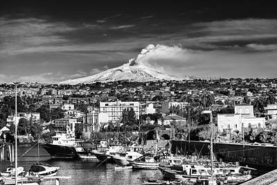 Volcano Etna Seen From Catania - Sicily. Poster