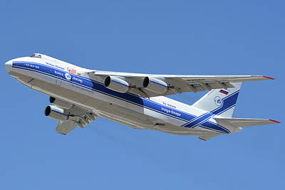 Poster featuring the photograph Volga-dnepr An-124 Ra-82068 Take-off Phoenix Sky Harbor June 15 2016 by Brian Lockett
