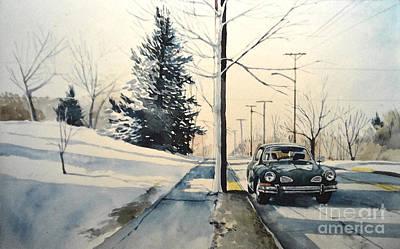 Volkswagen Karmann Ghia On Snowy Road Poster