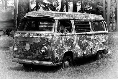 Poster featuring the photograph Volkswagen Microbus Nostalgia In Black And White by Bill Swartwout Fine Art Photography