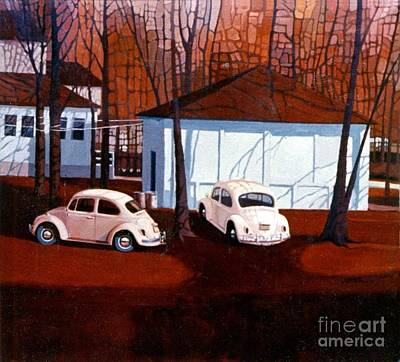 Volkswagons In Red Poster by Donald Maier