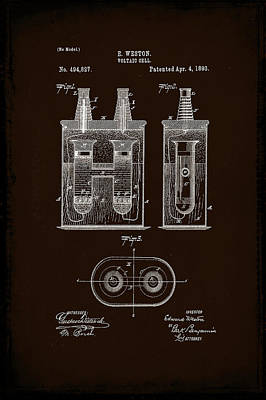 Voltaic Cell Patent Drawing 1a Poster