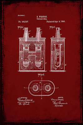 Voltaic Cell Patent Drawing  Poster
