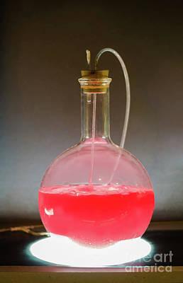 Volumetric Flask With Pink Liquid Chemical Experiment Poster by Sasha Samardzija