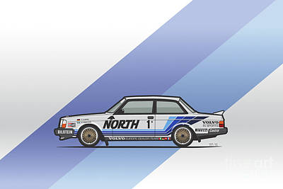 Volvo 240 242 Turbo Group A Homologation Race Car Poster by Monkey Crisis On Mars