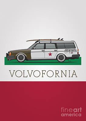 Volvofornia Slammed Volvo 245 240 Wagon California Style Poster
