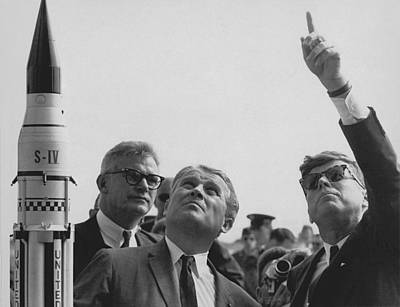 Von Braun And Jfk Looking Towards The Sky Poster by War Is Hell Store