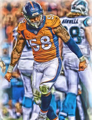 Von Miller Broncos Oil Art Poster