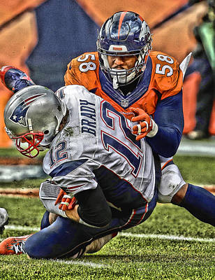 Von Miller Denver Broncos Art Poster by Joe Hamilton