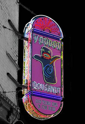 Voodoo Doughnut Neon Sign In Black And White Poster