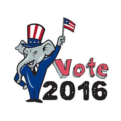 Vote 2016 Republican Mascot Waving Flag Cartoon Poster